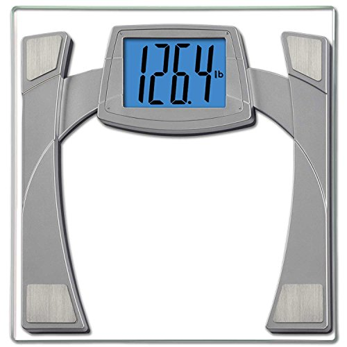 EatSmart Precision MaxView Digital Bathroom Scale w/ 4.5″ Backlit LCD Display, Silver