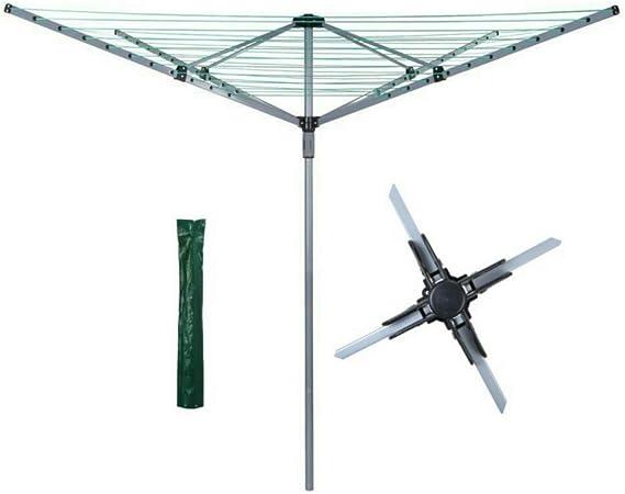 Abaseen - Tendedero Giratorio para jardín (60 m, 4 Brazos, con Pinchos de Metal y Cubierta Impermeable): Amazon.es: Hogar