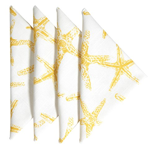 Cloth Napkins Table Linens Linen Napkins Dinner Napkins Nautical Beach Set of 4 Starfish ()
