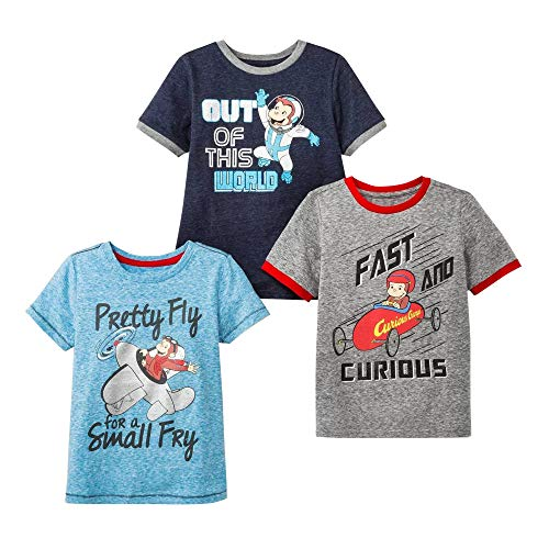 Curious George Boys 3 Pack Short Sleeve Assorted T-Shirt Multi 4T