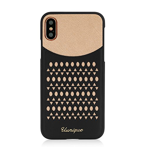 iPhone X Case, Uunique, Black/GoldPremium Protective Cover, Unique, Classy, Sophisticated & Stylish with Lazer Cut Design, Protective rubberised edges for Apple iPhone X