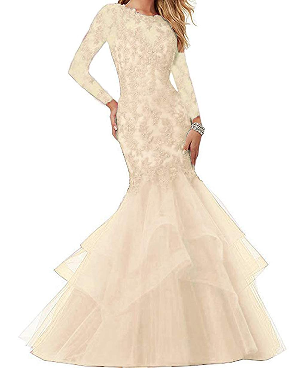 Champagne Women's Mermaid Prom Dresses Beaded Lace Appliques Formal Evening Gowns Long Sleeves