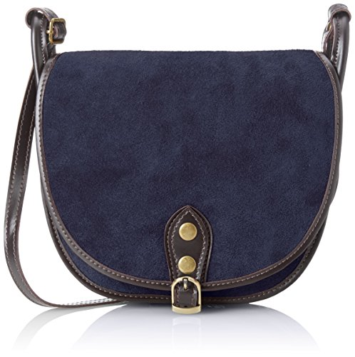 CTM Pochette pour femme, petit sac à epaule en cuir veritable fait en Italie - 26x23x8 Cm Bleu (Blu)