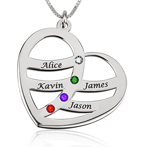 (Ouslier 925 Sterling Silver Personalized Heart Pendant Name Necklace with Birthstone Custom Made with Any Names (Silver Four Names))