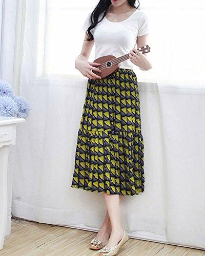 Falda Larga Mujer Verano Hippie Bohemia plisada elástico de la cintura falda Amarillo