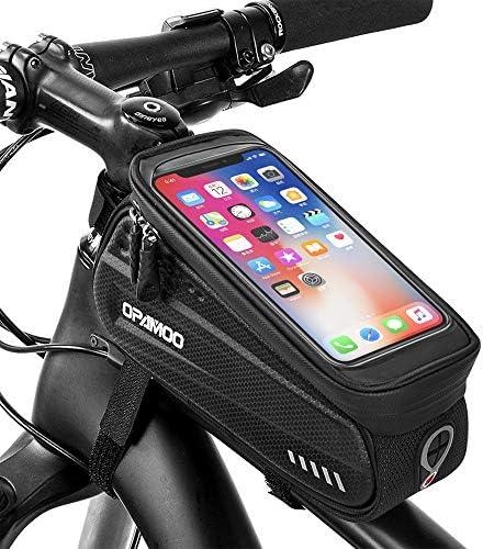 自転車電話フロントフレームバッグ - 防水自転車トップチューブ サイクリング電話マウントパック タッチスクリーンサンバイザー 大容量 携帯電話ケース 6.5インチ以下の携帯電話用 iPhone 7 8 Plus xs max