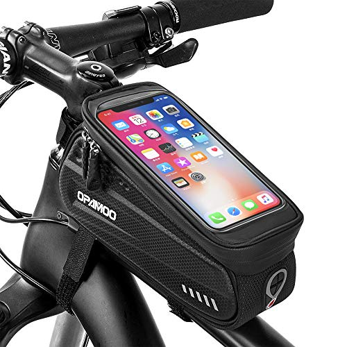 Bike Phone Front Frame Bag - Waterproof Bicycle Top Tube Cycling Phone Mount Pack with Touch Screen Sun Visor Large Capacity Phone Case for Cellphone Below 6.5
