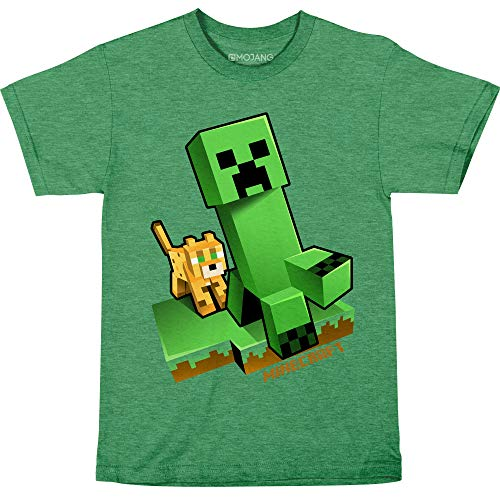 JINX Minecraft Craftable Creeper Chase Boys' Tee Shirt, Kelly Heather, X-Large (Best Minecraft Forge Mods 1.8)