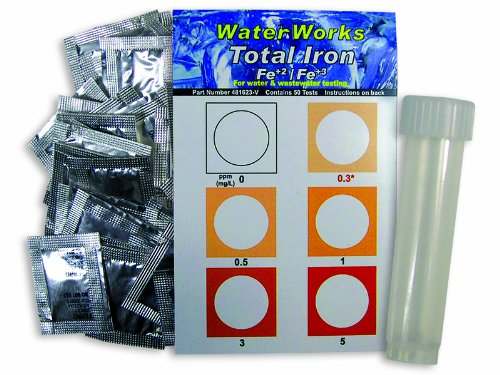 Industrial Test Systems WaterWorks 481623-V Total Iron Visual Test, 3 Minute Test Time, 0-5mg/L Range (Bottle of 50)