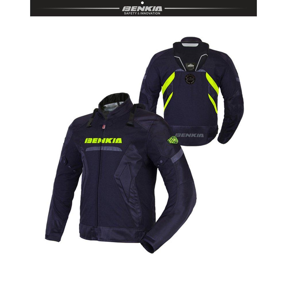 BENKIA メンズ バイク レース ジャケット 春夏秋冬用 吸汗速乾  防風 通気 プロテクター装備 ファション (ブラック, M)   B074DQPNQT