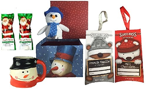 Snowman Mug and Snowman Plush with Hot Chocolate and Milk Chocolate Covered Marshmallows Gift Set (Black Hat)