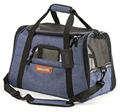 "The Most DURABLE, SAFEST & LARGEST of the Travel Airline Approved Pet Carriers Fits Under Seat on Southwest, American, JetBlue, Delta, Virgin, Alaska, Frontier, Allegiant, United & More DIMENSIONS: 17.5"" long x 10"" wide x 11"" tall (ch..."