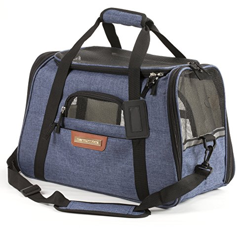 Pawfect Pets Airline Approved Pet Carrier Soft-Sided Cat Carrier and Dog Carrier for Small Dogs and Cats, Fits Underneath Airplane Seat. Comes with Two Fleece Pet Mats. (Navy)