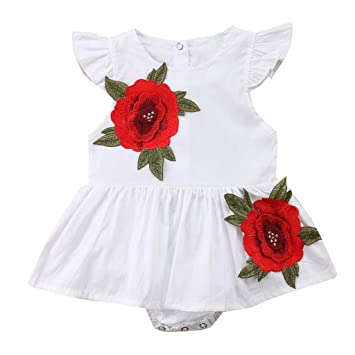 011c05030cac Amazon.com   Baby Girls Romper HP95 Newborn Rose Print Romper Dress Flying  Sleeve Bodysuit Jumpsuit One-Piece Clothes   Sports   Outdoors