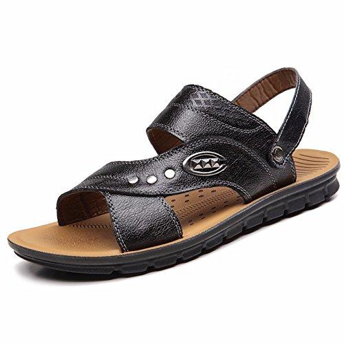 Sommer Echtleder Sandalen Männer Strand Schuh Männer Sandalen Männer Schuh Atmungsaktiv Freizeit Schuh Männer Trend ,schwarzC,US=8,UK=7.5,EU=41 1/3,CN=42