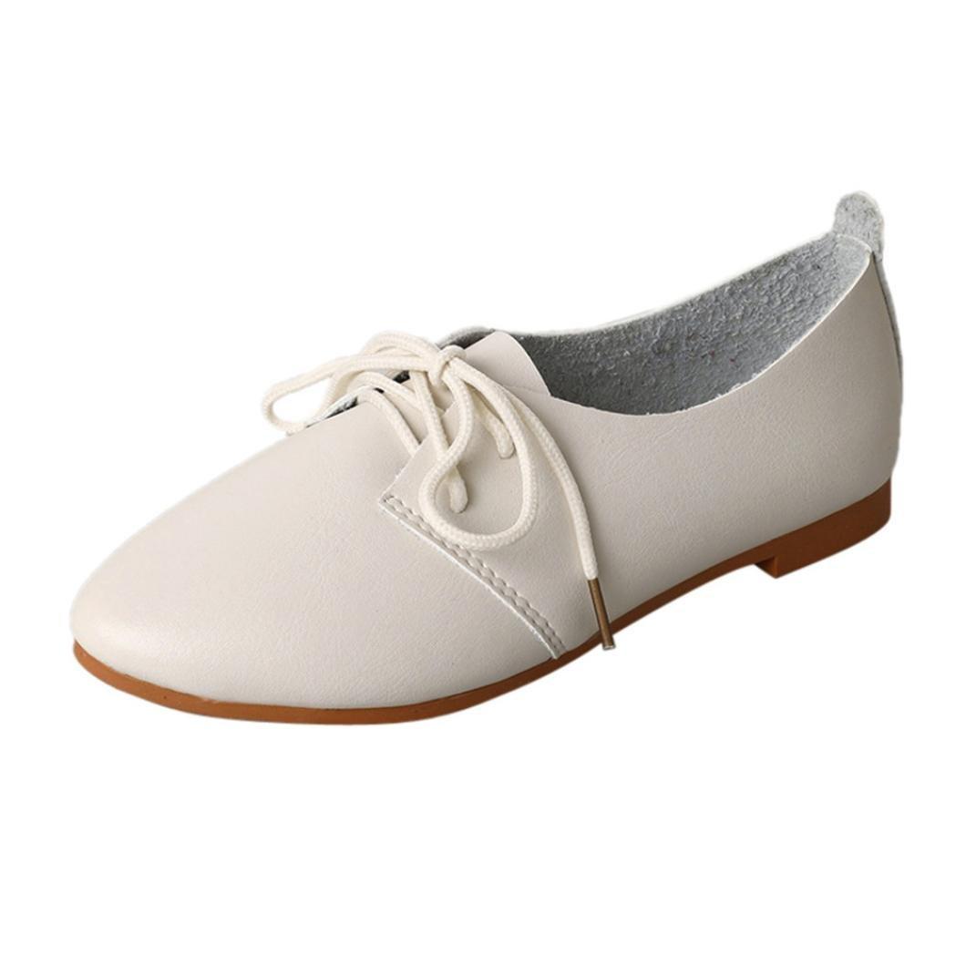 LuckyGirls Femmes De Printemps Chaussures Occasionnels, De Couleur Unie Dentelle-Up Flats