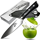 ZELITE INFINITY Paring Knife 4 Inch >> Razor-Edge Series > Best Quality Japanese AUS8 High Carbon Stainless Steel, Black Pakkawood Handle, Full-tang, Sleek Chef Design, Ultra-Premium Leather Sheath