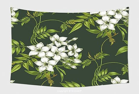 Home Decor Tapestry Wall Hanging Vector Seamless Background Jasmine Flowers Design For Fabrics Textiles Paper Wallpaper Web 292376333 for Bedroom Living Room - Multi Persian Panel