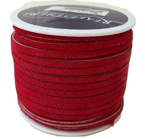 Lace Lacing Leather Suede Red 25 Yard Spool Made in USA