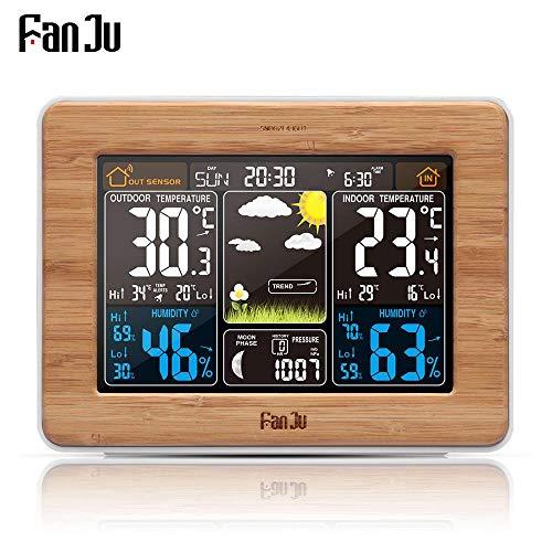 FanJu fj3365 Weather Station Color Digital Clock Temperature Humidity Sensor Barometer Forecast...