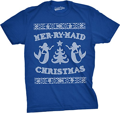 Crazy Dog TShirts - Mens Mer-Ry-Maid Tshirt Christmas Funny Sarcastic Mermaid Ugly Sweater Tee (Blue) 3XL - herren - 3XL