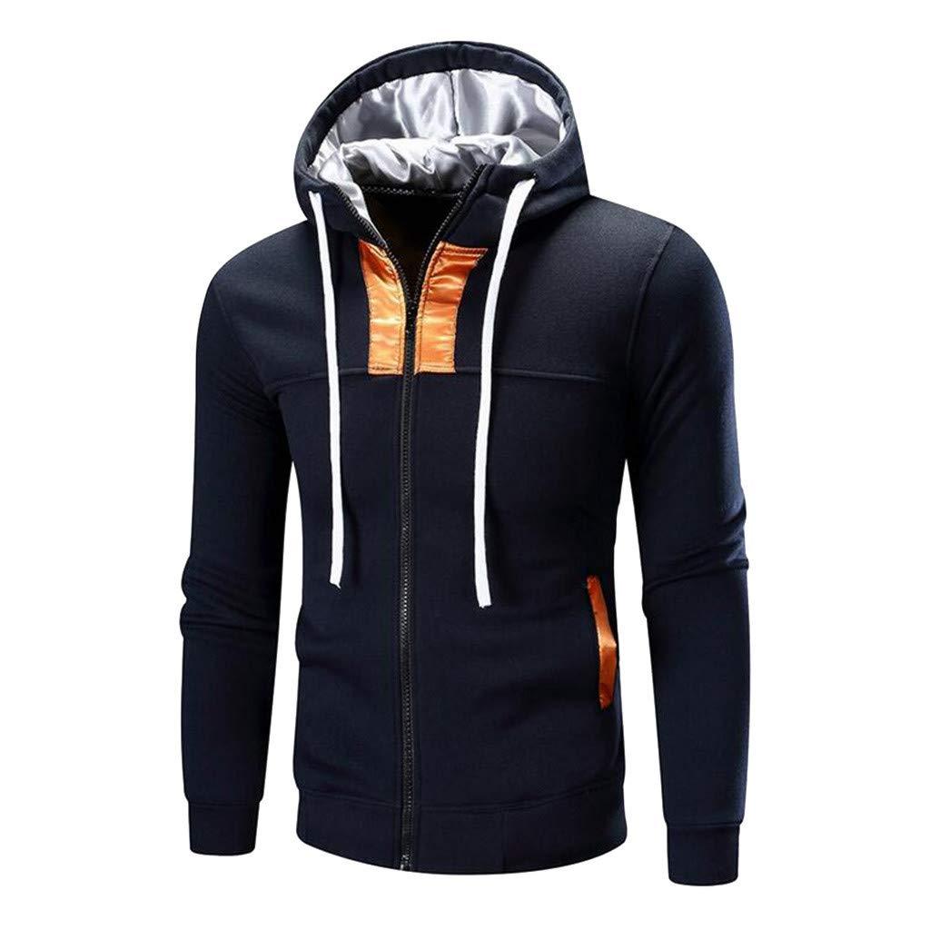 LGHOVRS Felpa Uomo con Cappuccio Invernale in Misto Cotone con Zip Originale Basic Style Pullover Tasca Tinta Unita Autunnali Top Sweatshirt Sportiva Casuale Streetwear