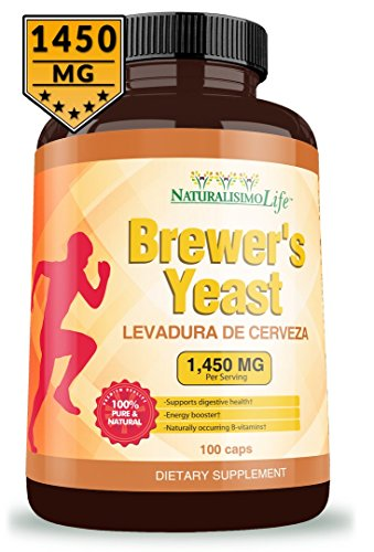 Brewers Yeast capsules Levadura de Cerveza 1450mg per serving High Absorption Pure 100 capsules (Best Brewers Yeast Tablets)