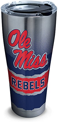 Tervis 1277167 Ole Miss Rebels Knockout Stainless Steel Tumbler with Clear and Black Hammer Lid 30oz, -