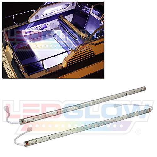 LEDGlow 2pc White LED Boat Marine Deck Under Gunnel & Cabin Accent Lighting Kit - 24
