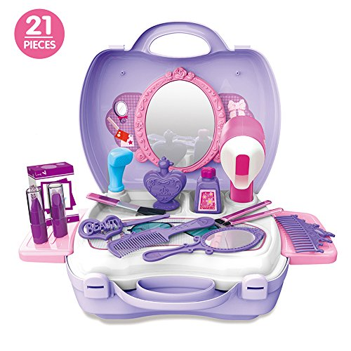 Candice's Sweety 21Pcs Kids Pretend Play Makeup Vanity Case Mirror Cosmetic Toy Set, Pretend Beauty Dress-up Salon Hair Dryer Suitcase Little Girls Toddlers