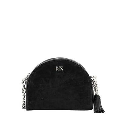 8c37d8cdd7 Michael Kors sac à bandoulière en cuir & daim demi-lune noire Black  Leather: Amazon.fr: Chaussures et Sacs