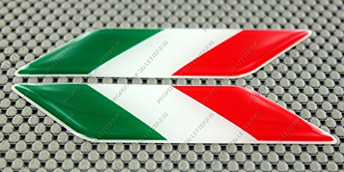 Italy Italia Flag 3d Domed Decal Sticker Set Left and Right Fiat Abarth