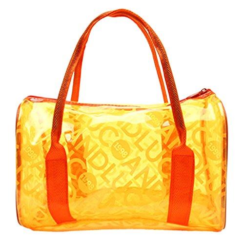 Panegy Moda Bolsa Impermeable con Asas Transparente Bolso de Mano de Playa para Natación Deportes Fitness - Rojo Naranja