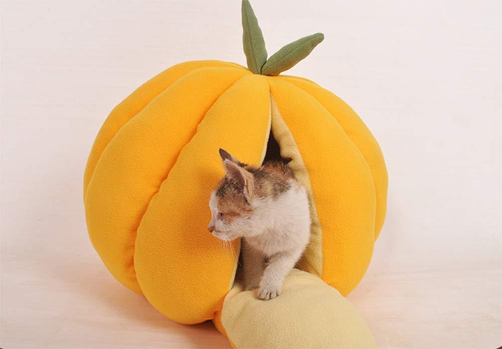 GYYL Mascota Fruta Linda Nido de Calabaza Nido de Gato Perrera Perrera Invierno Cálido Semi-Cerrado Cat House Dog Shop Cat House,Orange,L