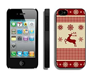 Popular Design Winter Pattern With Deer Black iPhone 4 4S Case 1