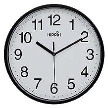 "Hippih 10"" Silent Quartz Decorative Wall Clock Non-ticking Digital(Black)"