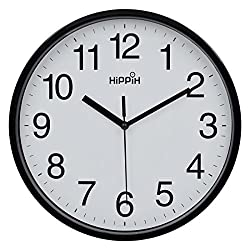 Hippih 10 Silent Quartz Decorative Wall Clock Non-ticking Digital(Black)