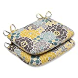 Cheap Pillow Perfect Outdoor Full Bloom Rounded Corners Seat Cushion, Set of 2