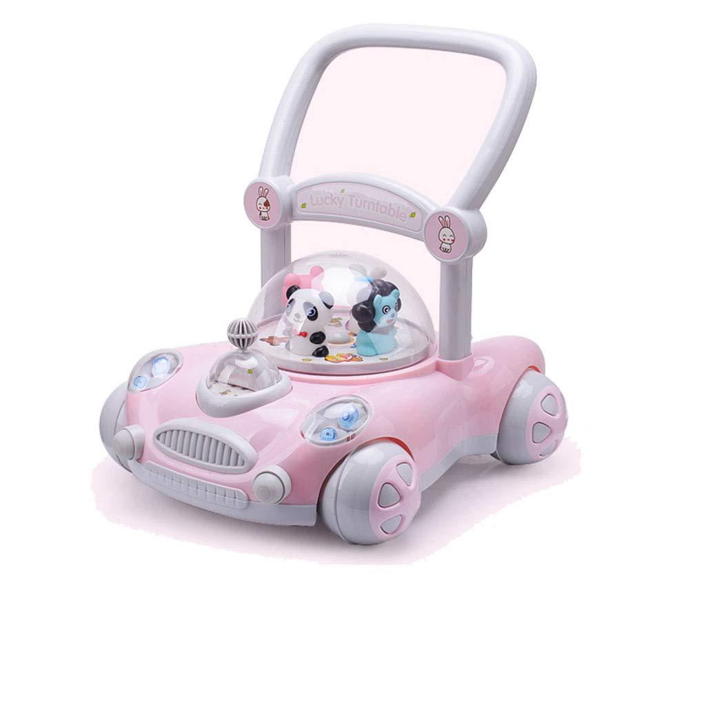 ベビーウォーカー、アンチロールオーバー、音楽付き、折りたたみ式調節可能なシート高さアクティビティウォーカートレイ (色 : Pink)  Pink B07L7P7M5R
