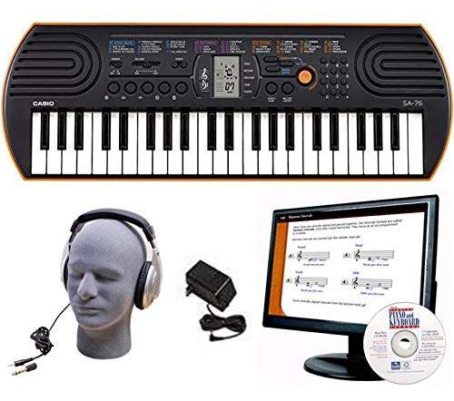 (Casio SA-76 EDP Personal Keyboard Package with Closed-Cup Headphones, Power Supply and Instructional Software)