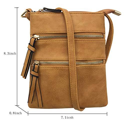FairyBridal Triple Zipper Mutil-Pocket Leather Messenger Bag for Women,Crossbody Bag 5 Colors Satchel Purse (khaki(pu leather)) by FairyBridal (Image #3)