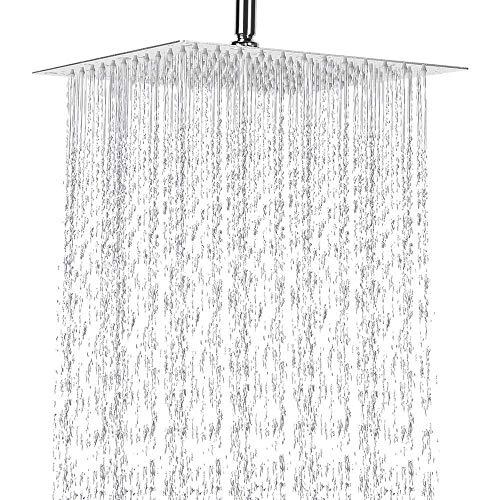 Tanburo Showerhead Rain Square 10 inch,Stainless Thin Bathroom Rainfall Shower Head High Pressure and Saving Water