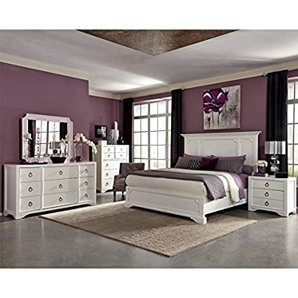Classic Panel Design White Unique Beautiful Bedroom Furniture Queen Size  Bed W Crown Moulding Dresser W