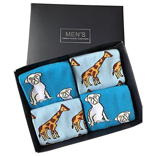 Men's Dress Socks, SUTTOS Elite Men's Women's Unisex Casual Fun Cute Cartoon Dog Puppy Giraffe Knit Pattern Crew Gift Socks Valentine's Day,4 Pairs Groomsmen Gifts Groomsmen Socks Mens Wedding Socks in Gift Box (Pattern Casual Cartoon)
