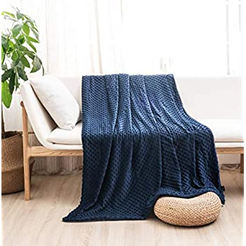 Image of MILDLY Duvet Cover for Weighted Blanket 60' 80' Weighted Blanket Cover Removable Soft Minky Cozy Fabric Queen Size Navy Blue Color MILDLY B07YJVDV3S Weighted Blankets