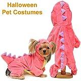 Camlinbo Dinosaur Dog Halloween Costume Pet Dino Hoodie for Small Dogs,Green (XL, 3) (1-Dinosaur Dog Suit, S)