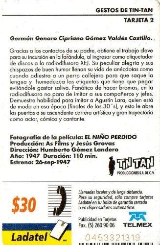 Amazon.com: Gestos Tin Tan Original Mexican Ladatel Phone Card El Niño Perdido German Valdes: Cell Phones & Accessories