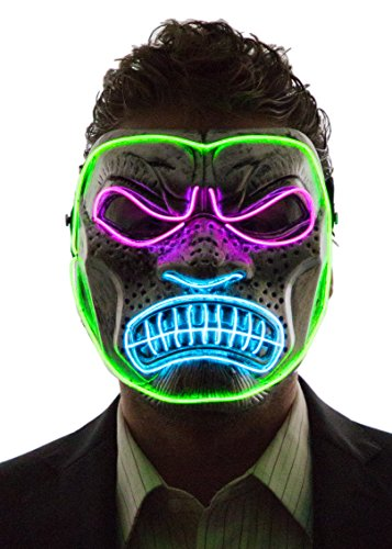 Neon Nightlife Men's Light Up Gorilla Mask, Pink, Aqua, & Green