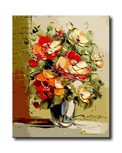 Shukqueen DIY Paint by Numbers for Adults DIY Oil Painting Kit for Kids Beginner - Flower Vase 20x26 Inch (Without Frame) ()