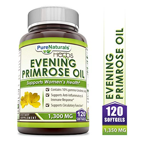Pure Naturals Evening Primrose Oil with 10% GLA, 1300 Mg, 120 Softgels Contains 10% Gamma -Linolenic Acid, Supports Anti- Inflammation and Balances Immune Response, Supports Circulatory Function
